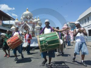 Cocorite group on the streets of St James during Hosay celebrations