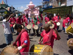 Ghulam Hussein group on the streets of St James during Hosay celebrations.